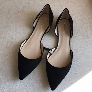 Zara basic black pointed suede flats shoes 11 NEW